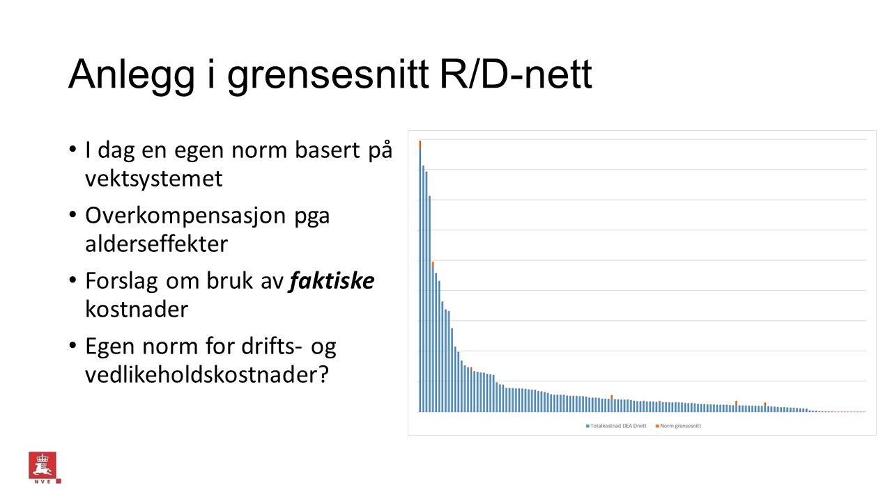 Anlegg i grensesnitt R/D-nett I dag en egen norm basert på vektsystemet Overkompensasjon pga alderseffekter Forslag om bruk av faktiske kostnader Egen norm for drifts- og vedlikeholdskostnader