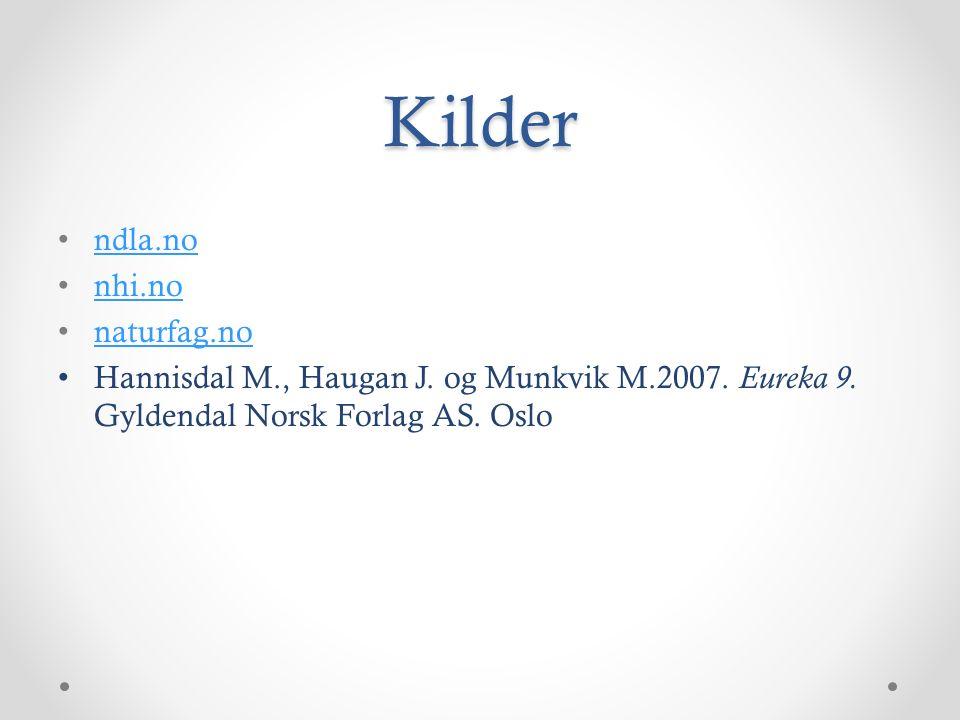 Kilder ndla.no nhi.no naturfag.no Hannisdal M., Haugan J.