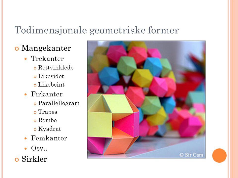 Todimensjonale geometriske former Mangekanter Trekanter Rettvinklede Likesidet Likebeint Firkanter Parallellogram Trapes Rombe Kvadrat Femkanter Osv..