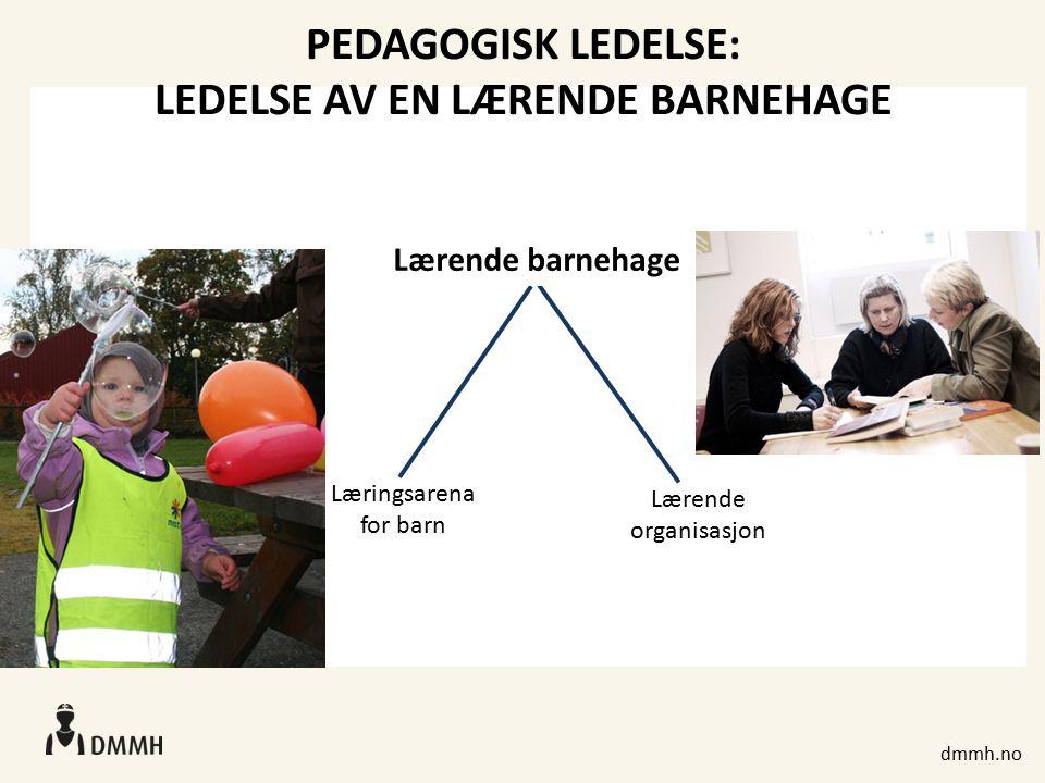 dmmh.no PEDAGOGISK LEDELSE: LEDELSE AV EN LÆRENDE BARNEHAGE Lærende barnehage Læringsarena for barn Lærende organisasjon