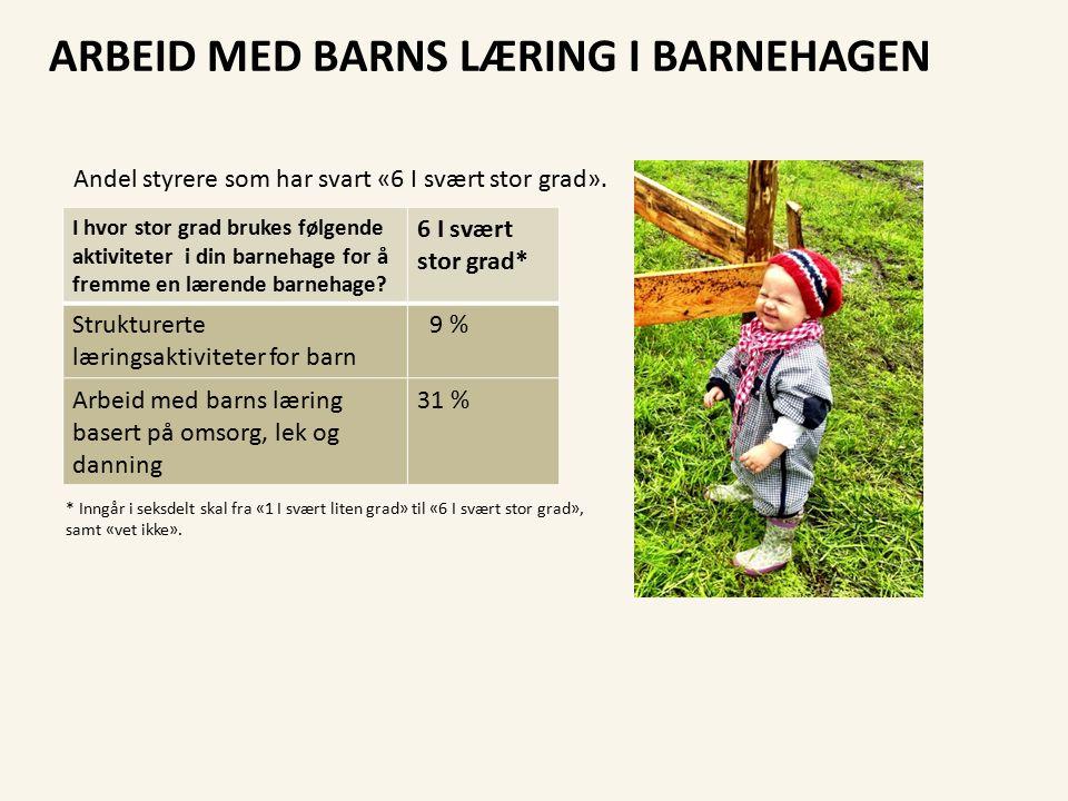 dmmh.no ARBEID MED BARNS LÆRING I BARNEHAGEN I hvor stor grad brukes følgende aktiviteter i din barnehage for å fremme en lærende barnehage.