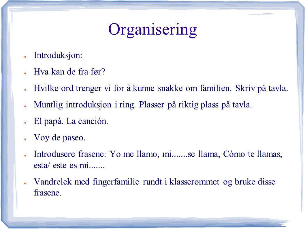 Organisering ● Introduksjon: ● Hva kan de fra før.
