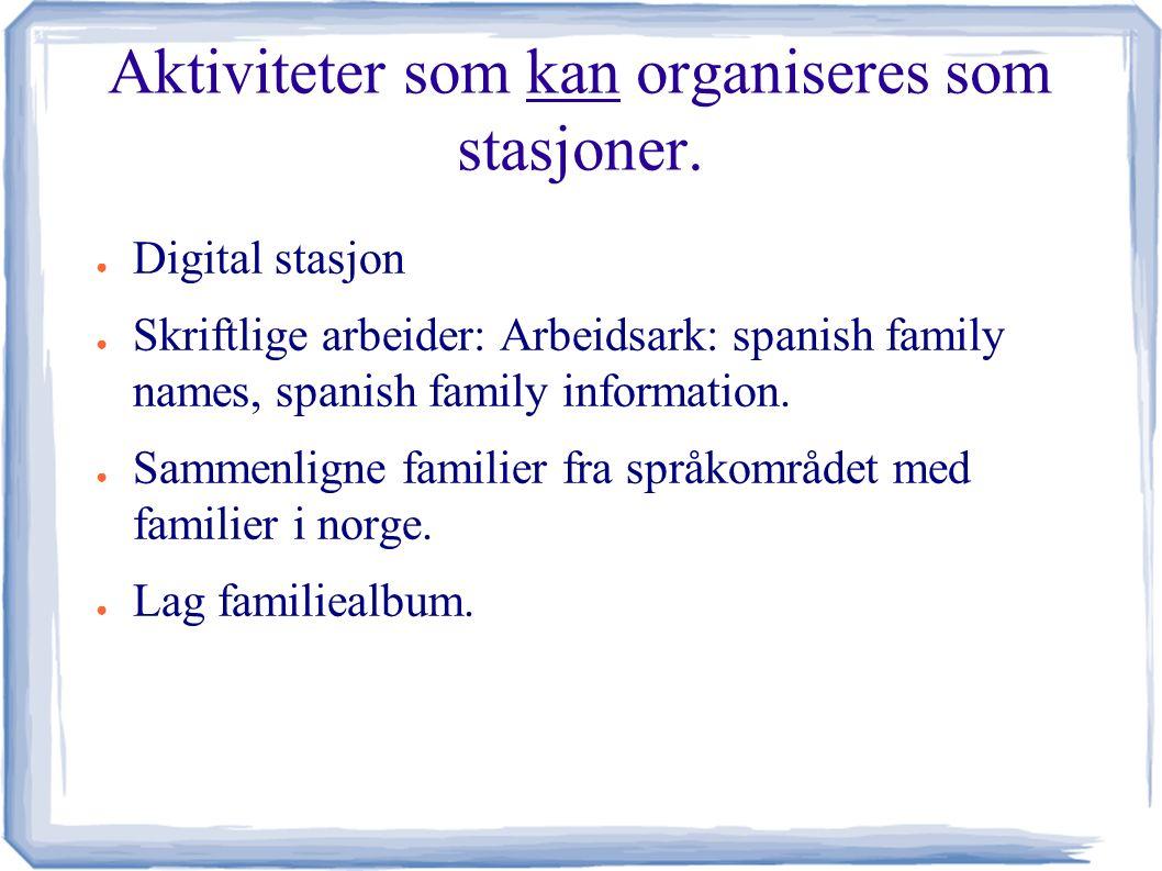 Aktiviteter som kan organiseres som stasjoner.