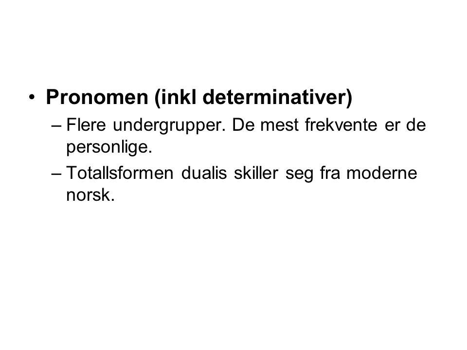 Pronomen (inkl determinativer) –Flere undergrupper.