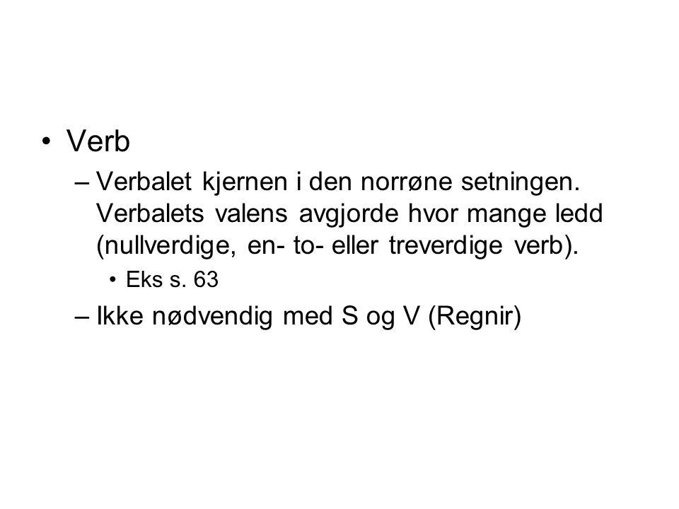 Verb –Verbalet kjernen i den norrøne setningen.