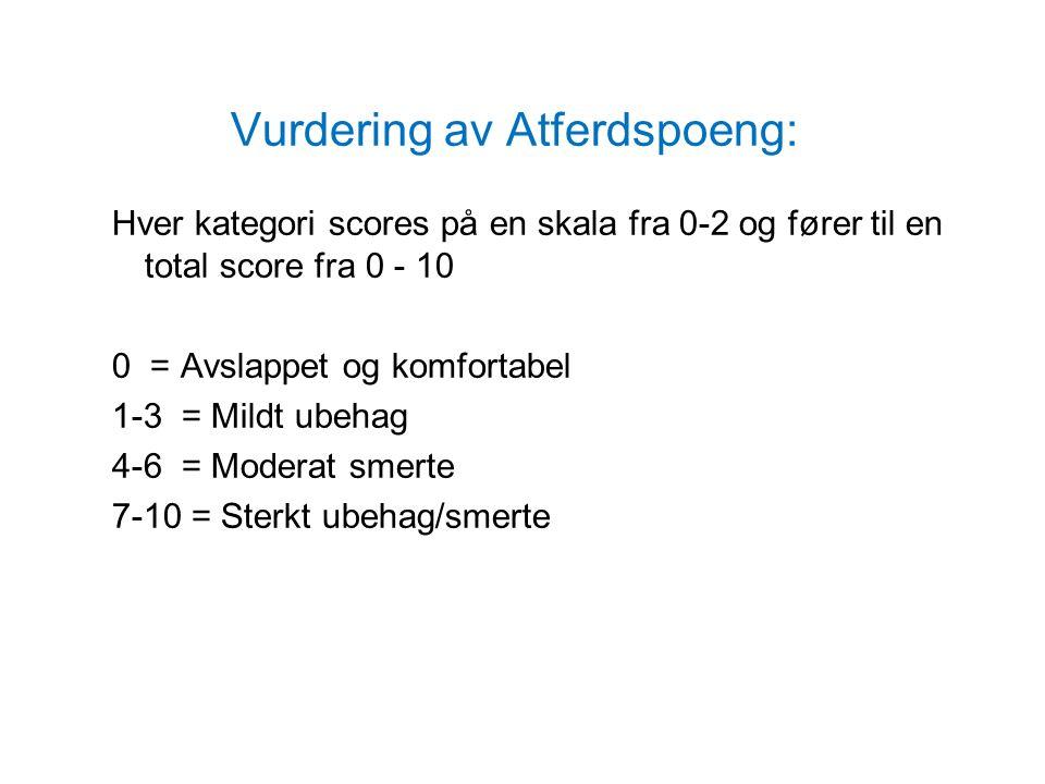 Vurdering av Atferdspoeng: Hver kategori scores på en skala fra 0-2 og fører til en total score fra 0 - 10 0 = Avslappet og komfortabel 1-3 = Mildt ubehag 4-6 = Moderat smerte 7-10 = Sterkt ubehag/smerte