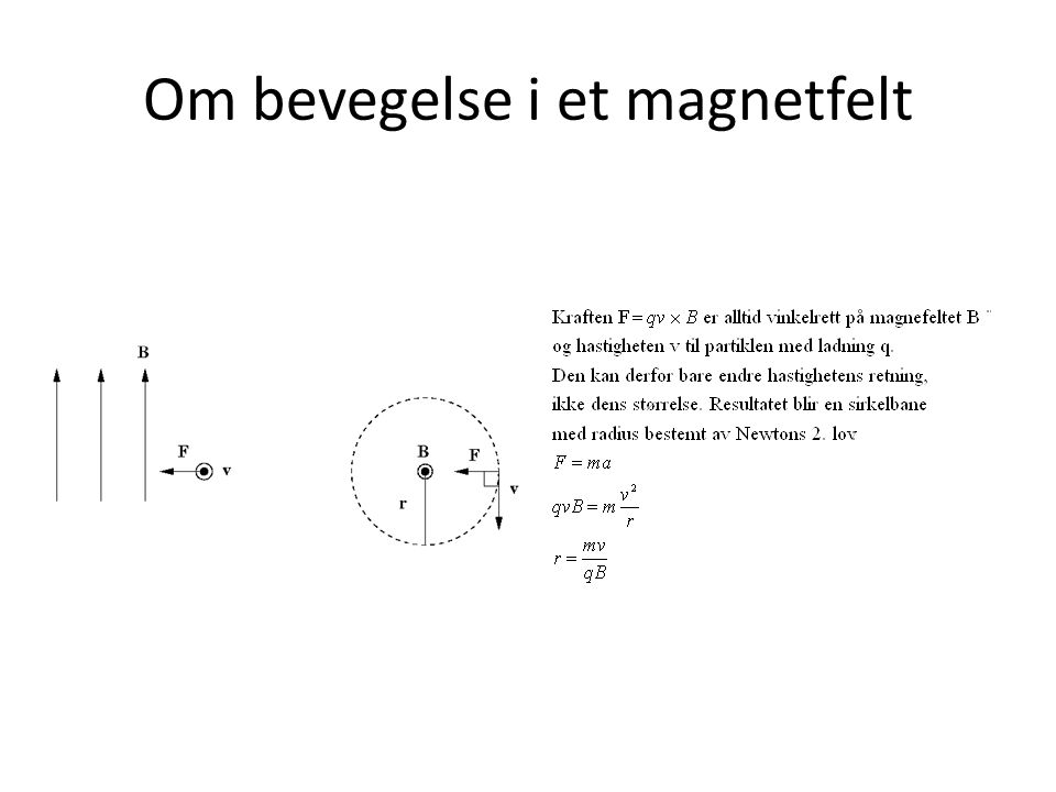 Om bevegelse i et magnetfelt