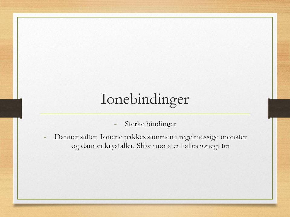 Ionebindinger - Sterke bindinger - Danner salter.