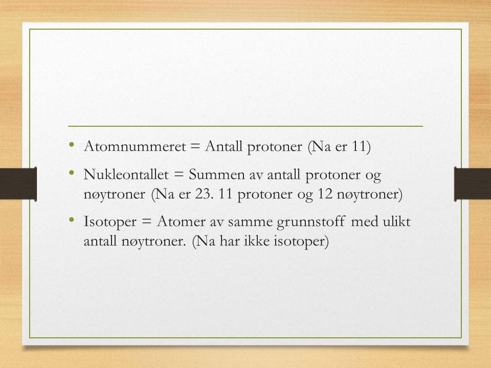 Atomnummeret = Antall protoner (Na er 11) Nukleontallet = Summen av antall protoner og nøytroner (Na er 23.
