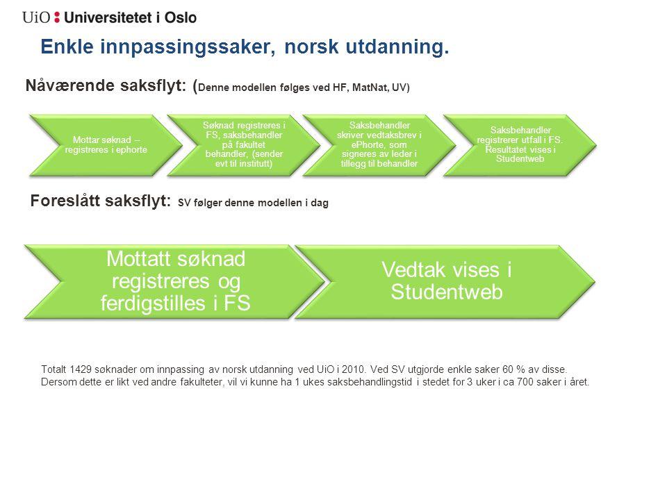 Enkle innpassingssaker, norsk utdanning.