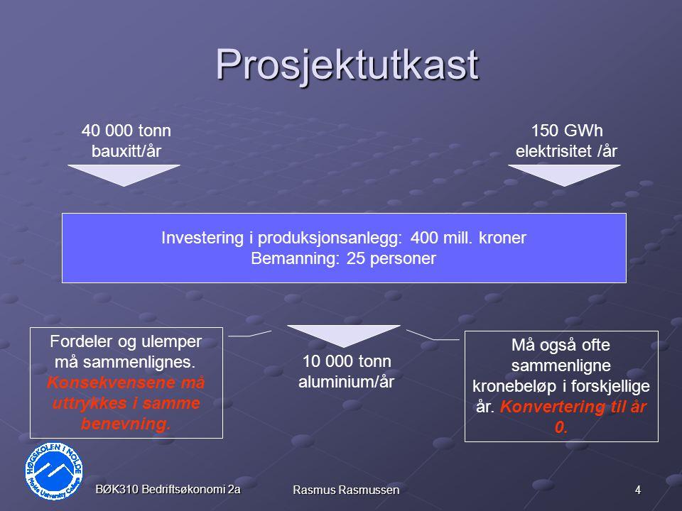 4 BØK310 Bedriftsøkonomi 2a Rasmus Rasmussen Prosjektutkast 40 000 tonn bauxitt/år 150 GWh elektrisitet /år Investering i produksjonsanlegg: 400 mill.
