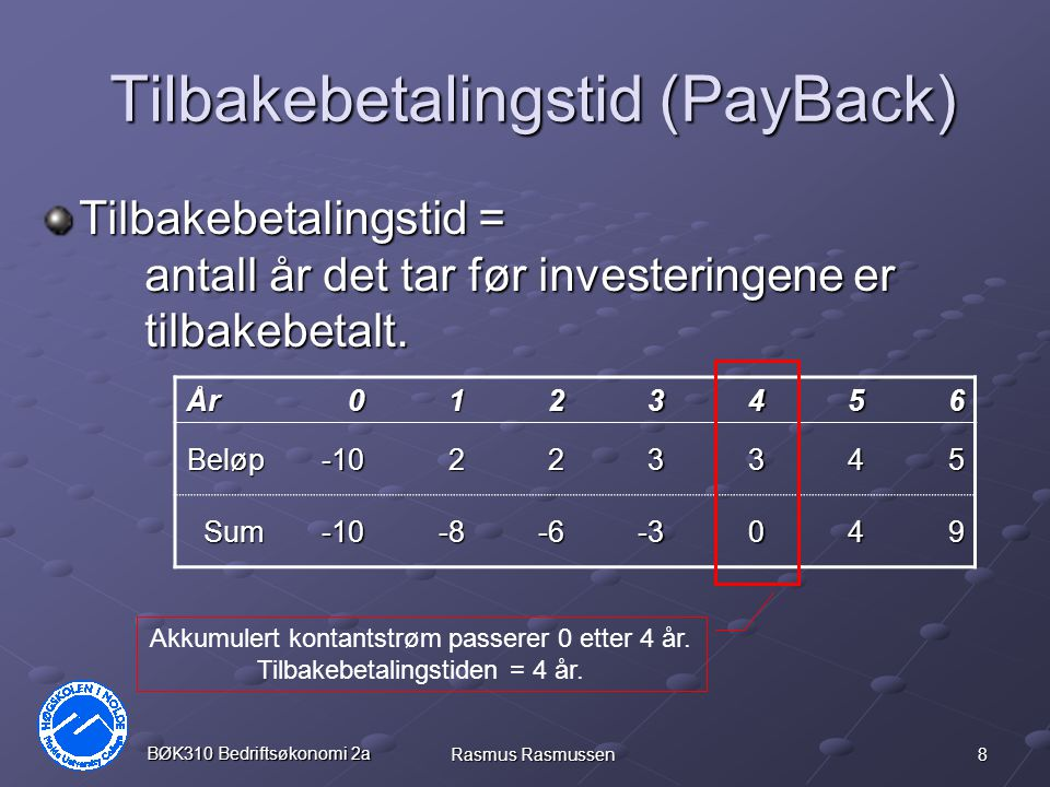 8 BØK310 Bedriftsøkonomi 2a Rasmus Rasmussen Tilbakebetalingstid (PayBack) Tilbakebetalingstid = antall år det tar før investeringene er tilbakebetalt.