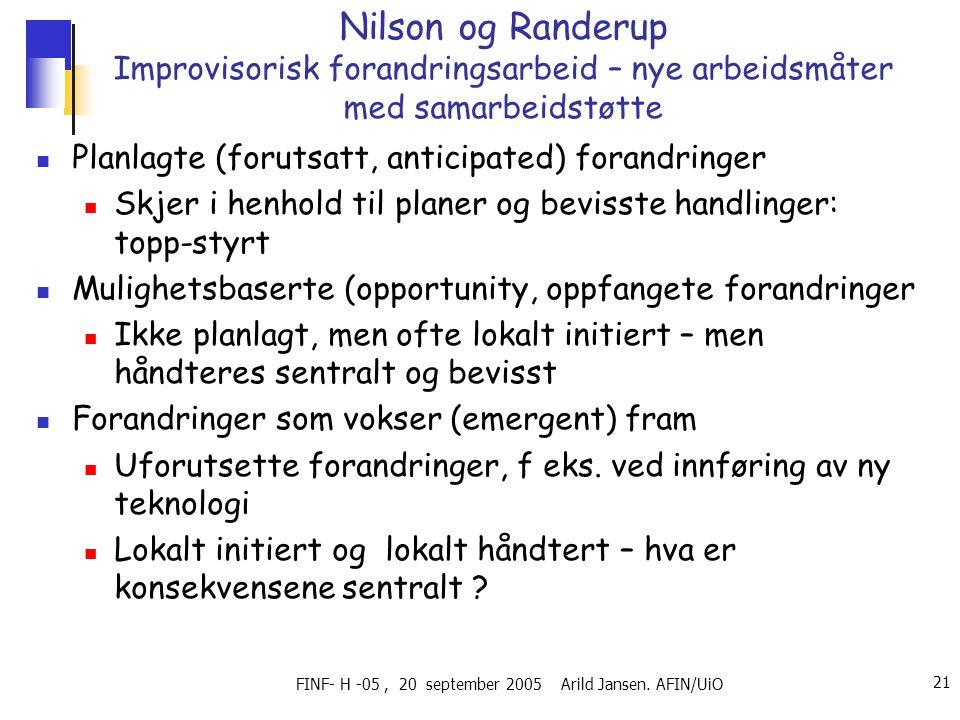 FINF- H -05, 20 september 2005 Arild Jansen.