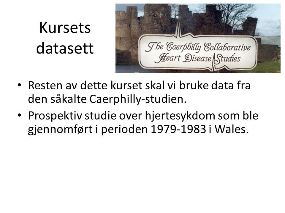 Kursets datasett Resten av dette kurset skal vi bruke data fra den såkalte Caerphilly-studien. Prospektiv studie over hjertesykdom som ble gjennomført