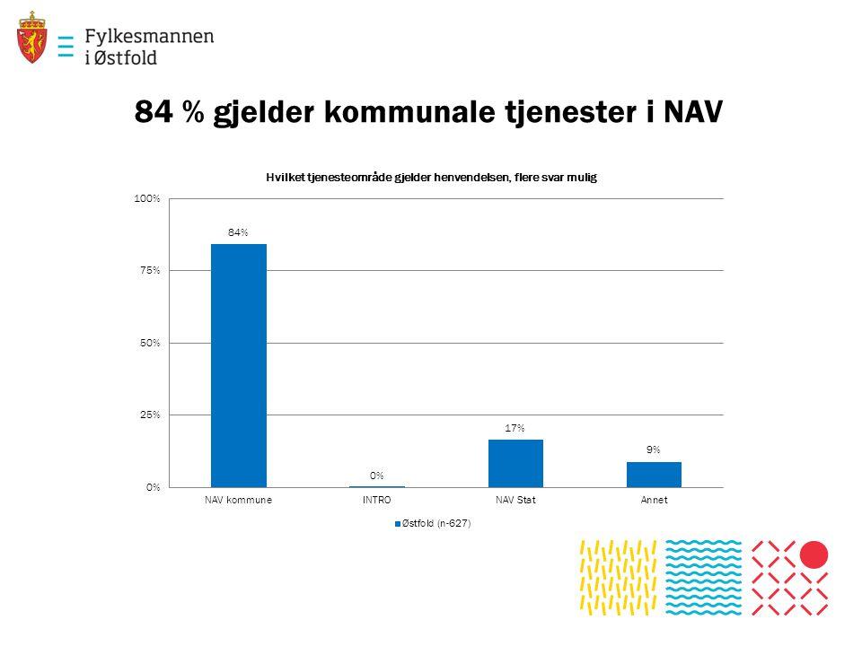 84 % gjelder kommunale tjenester i NAV
