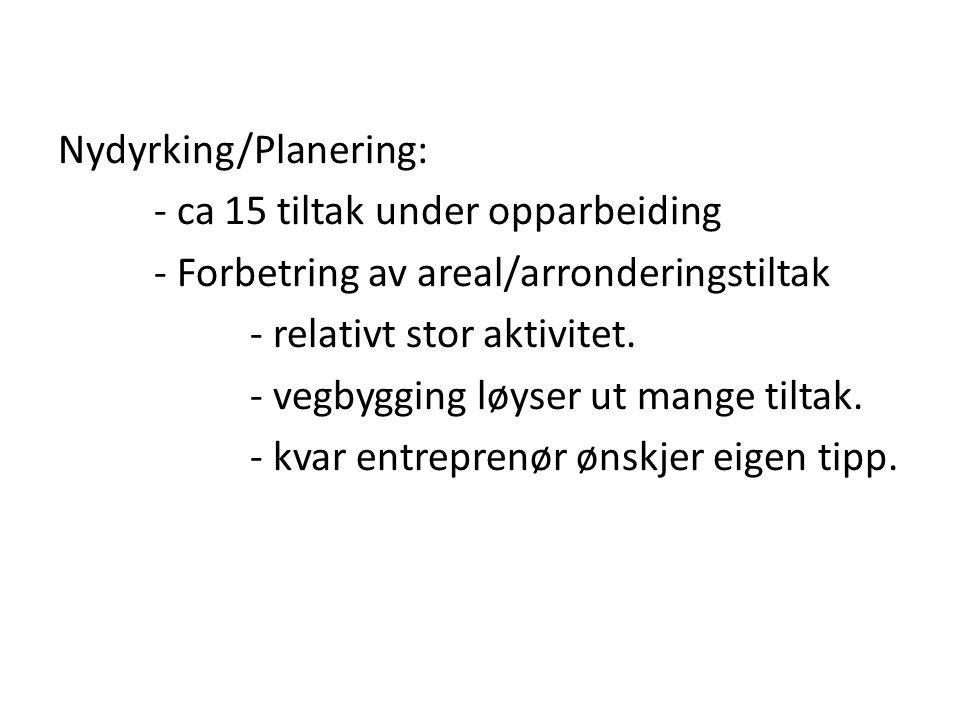 Nydyrking/Planering: - ca 15 tiltak under opparbeiding - Forbetring av areal/arronderingstiltak - relativt stor aktivitet.