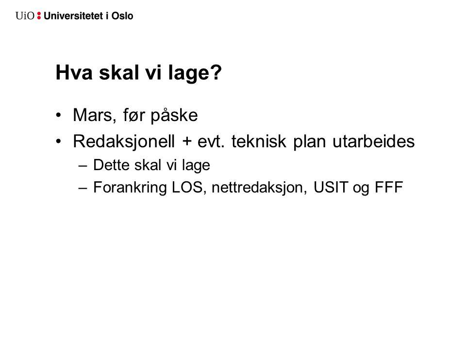 Hva skal vi lage. Mars, før påske Redaksjonell + evt.