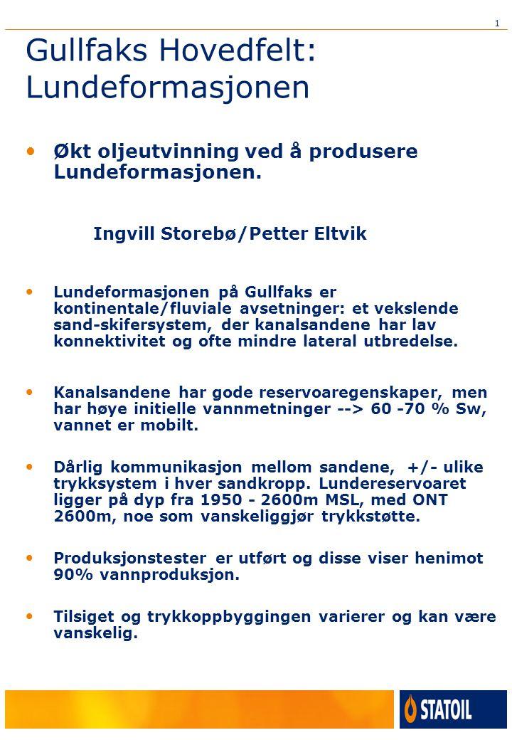 1 Gullfaks Hovedfelt: Lundeformasjonen Økt oljeutvinning ved å produsere Lundeformasjonen.