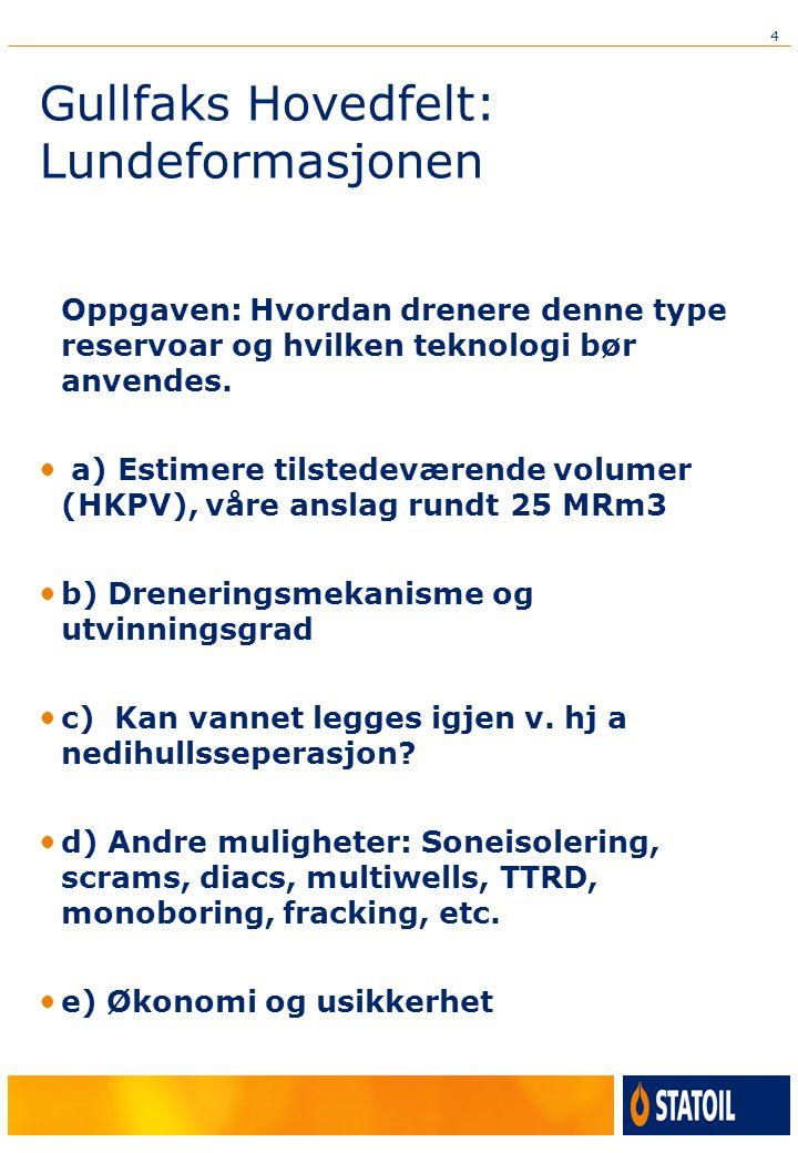 4 Gullfaks Hovedfelt: Lundeformasjonen Oppgaven: Hvordan drenere denne type reservoar og hvilken teknologi bør anvendes.