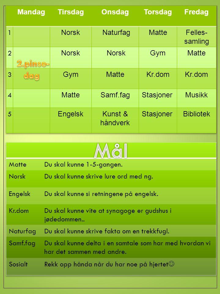 TILTIL TIRSDAGTIRSDAG Norsk: Matte: Engelsk: ONSDAGONSDAG Norsk: Les s.130-(132) i Leseboka.