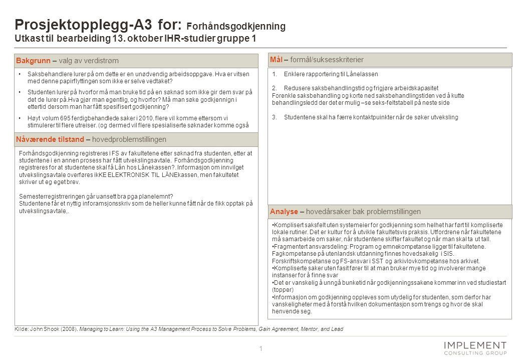 1 Prosjektopplegg-A3 for: Forhåndsgodkjenning Utkast til bearbeiding 13.