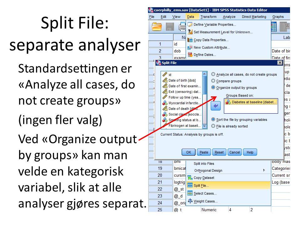 Split File: separate analyser Standardsettingen er «Analyze all cases, do not create groups» (ingen fler valg) Ved «Organize output by groups» kan man velde en kategorisk variabel, slik at alle analyser gjøres separat.