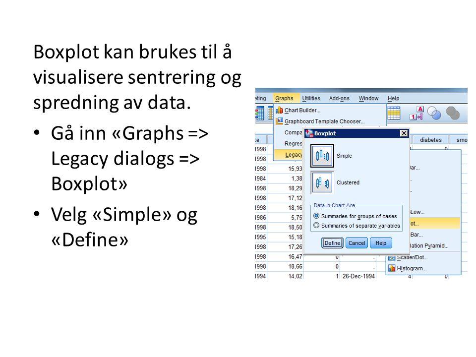 Boxplot kan brukes til å visualisere sentrering og spredning av data.