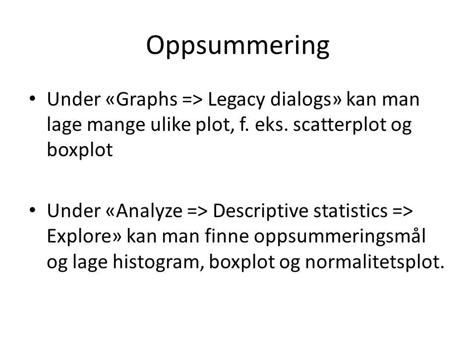 Oppsummering Under «Graphs => Legacy dialogs» kan man lage mange ulike plot, f.