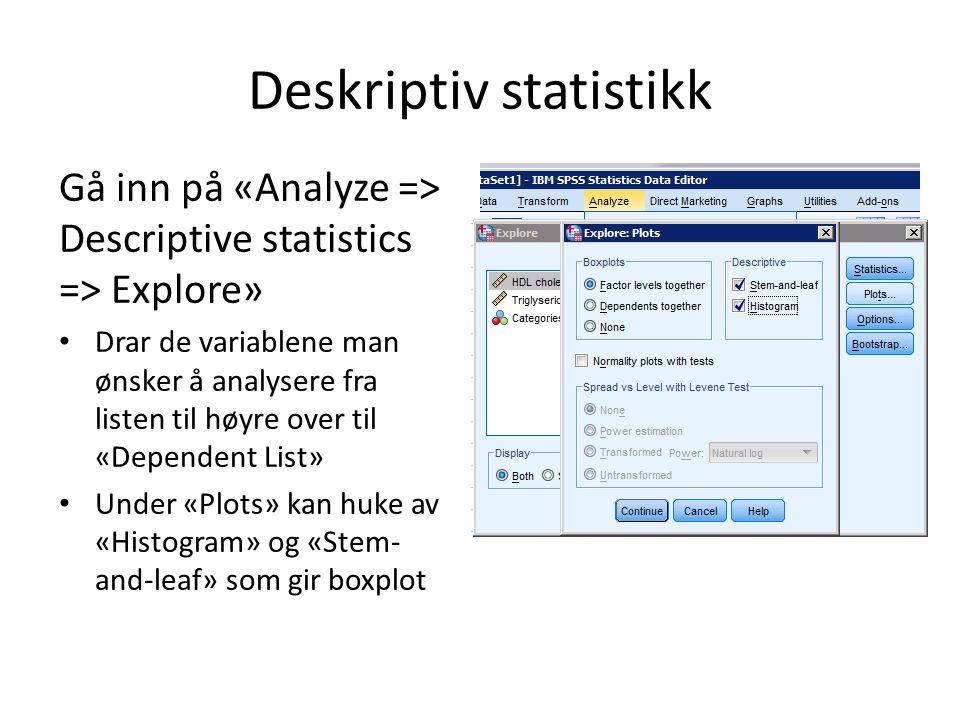 Alle disse finner man under Explore: Gå inn på «Analyze => Descriptive statistics => Explore» Klikk «Plots» For boxplot: huk av «Stem-and-leaf» Huk av «Histogram» For QQ-plot: huk av «Normality plots with tests»