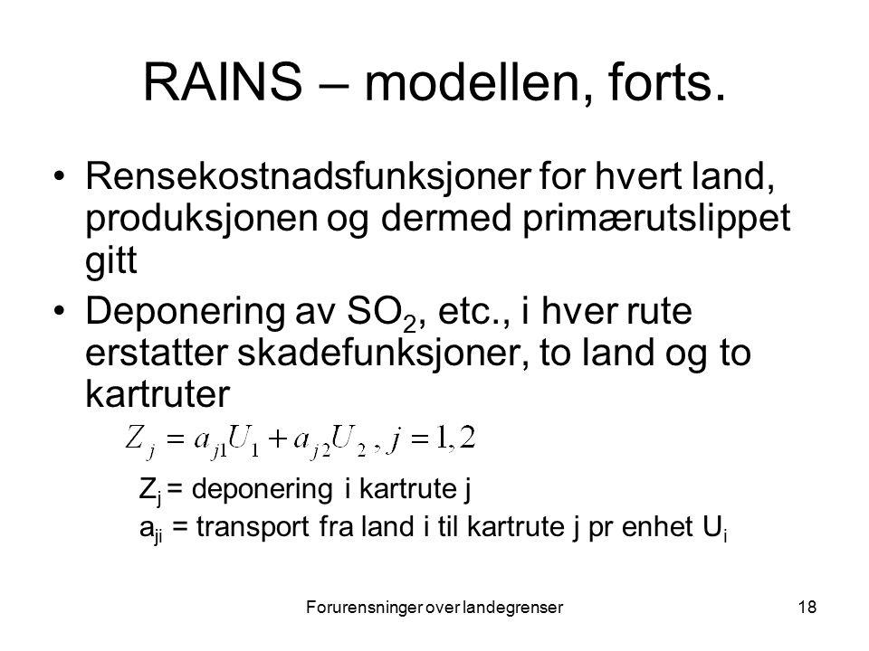Forurensninger over landegrenser18 RAINS – modellen, forts.