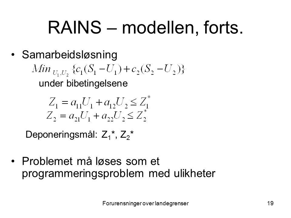 Forurensninger over landegrenser19 RAINS – modellen, forts.