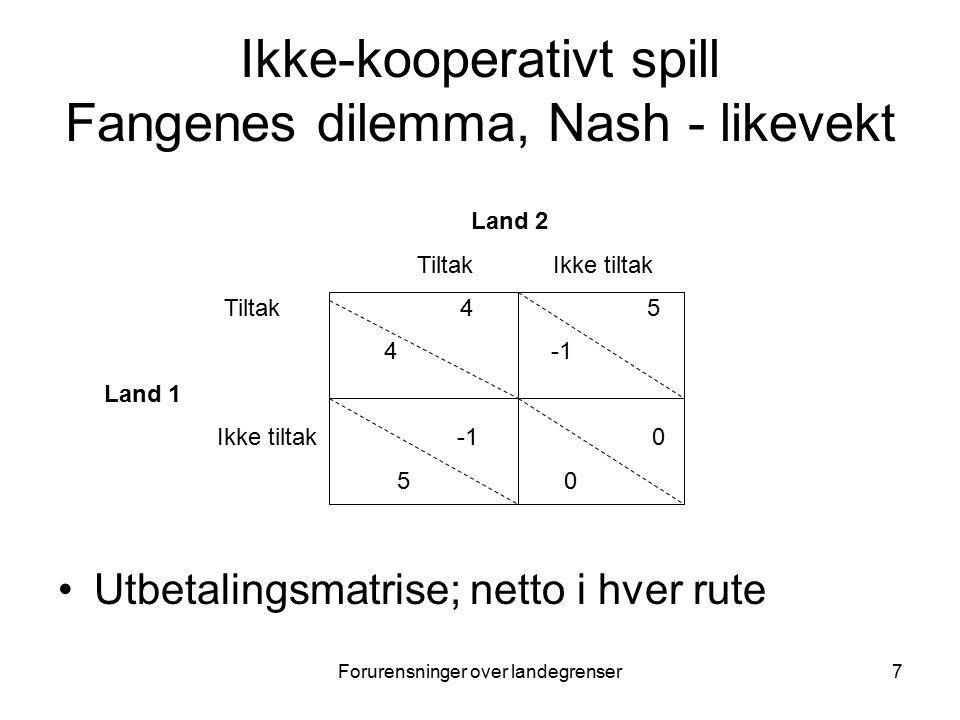 Forurensninger over landegrenser7 Ikke-kooperativt spill Fangenes dilemma, Nash - likevekt Utbetalingsmatrise; netto i hver rute Land 2 Tiltak Ikke tiltak Tiltak 4 5 4 -1 Land 1 Ikke tiltak -1 0 5 0