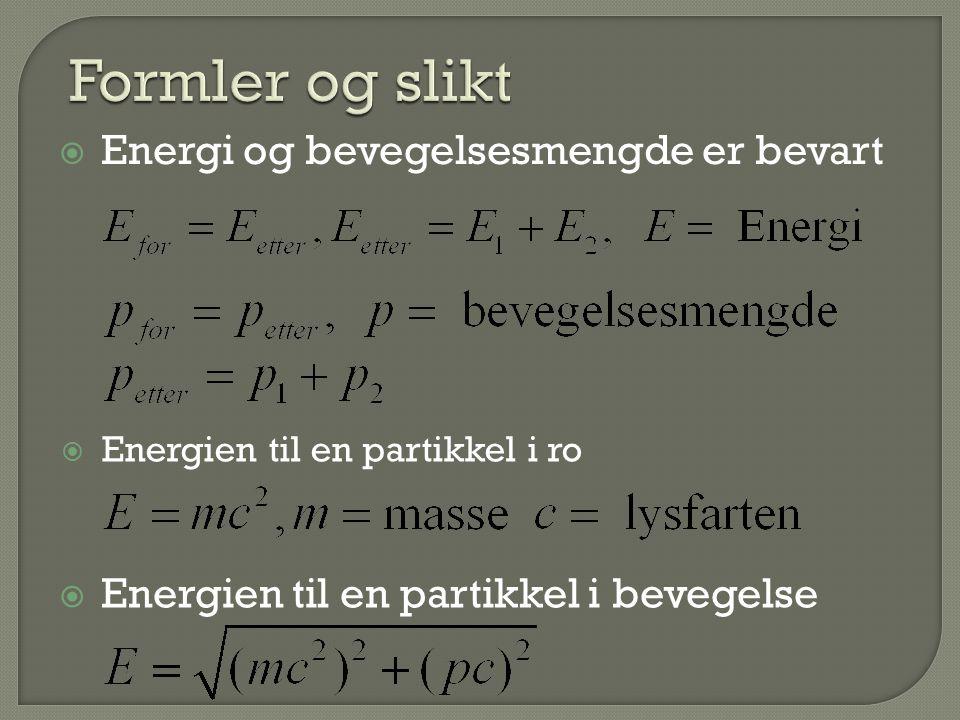  Energien til en partikkel i ro  Energien til en partikkel i bevegelse  Energi og bevegelsesmengde er bevart