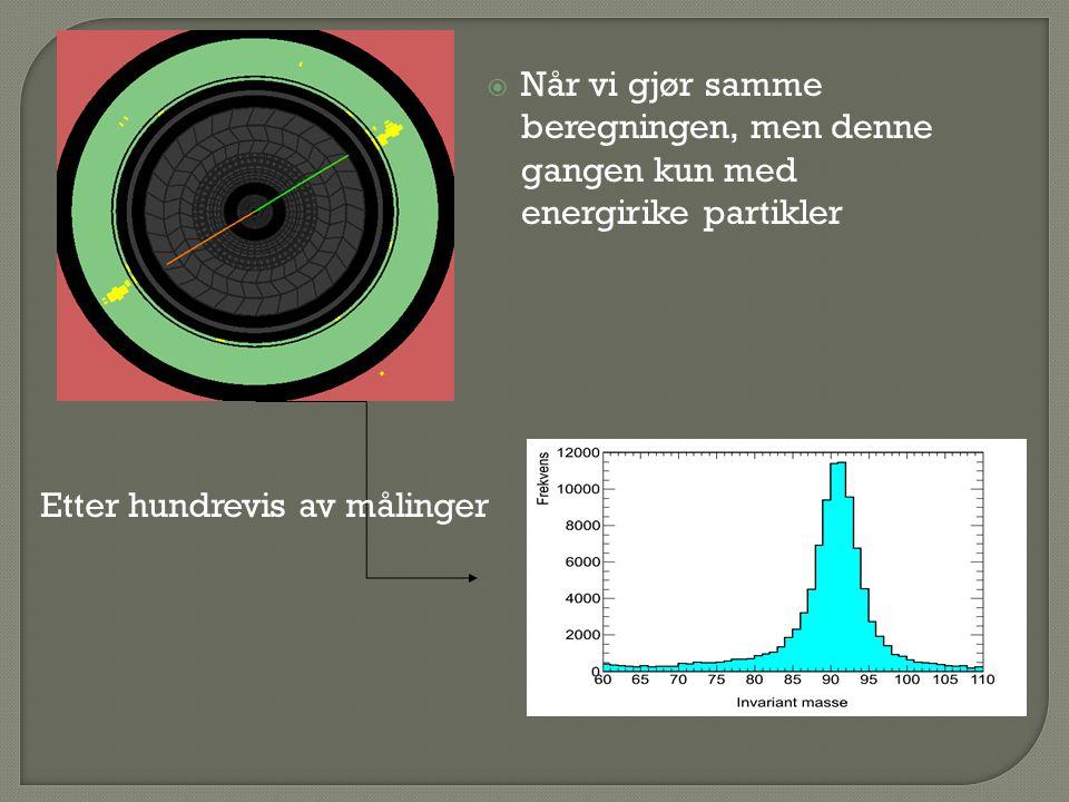  Når vi gjør samme beregningen, men denne gangen kun med energirike partikler Etter hundrevis av målinger