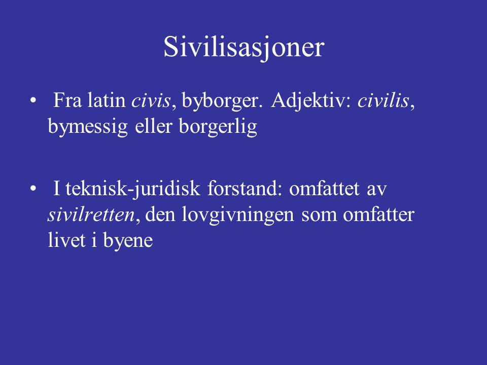 Sivilisasjoner Fra latin civis, byborger.