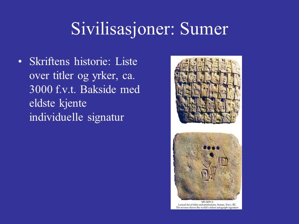 Sivilisasjoner: Sumer Skriftens historie: Liste over titler og yrker, ca.