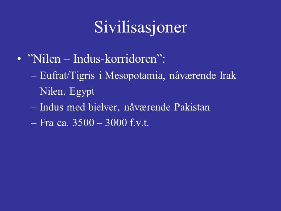 Sivilisasjoner Nilen – Indus-korridoren : –Eufrat/Tigris i Mesopotamia, nåværende Irak –Nilen, Egypt –Indus med bielver, nåværende Pakistan –Fra ca.