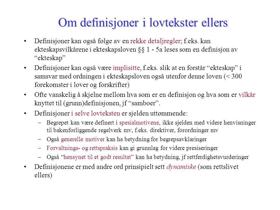 Om definisjoner i lovtekster ellers Definisjoner kan også følge av en rekke detaljregler; f.eks.