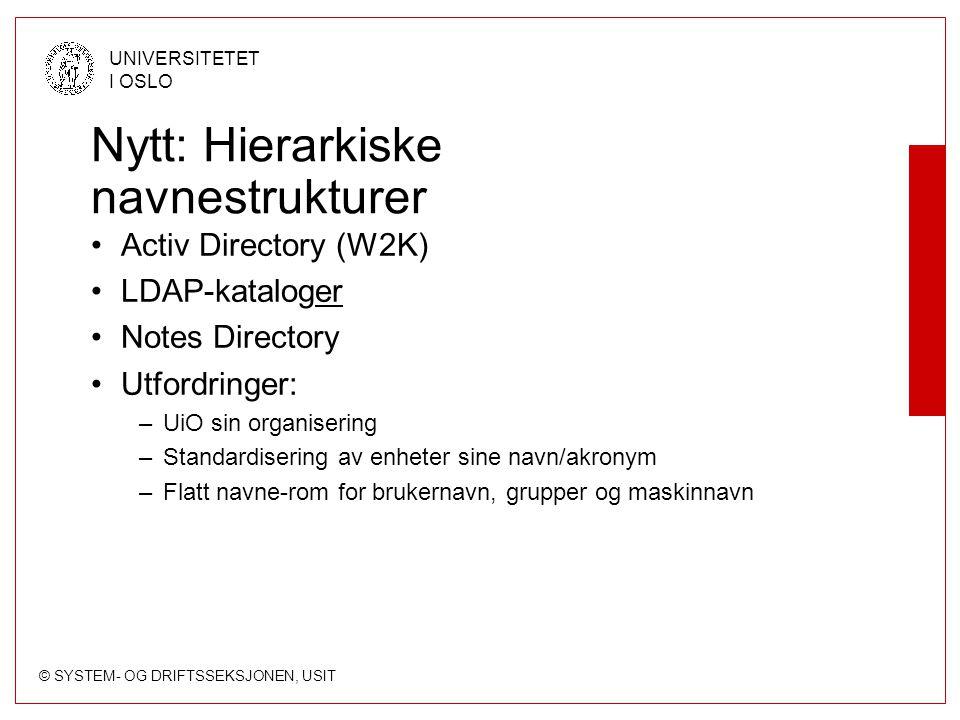 © SYSTEM- OG DRIFTSSEKSJONEN, USIT UNIVERSITETET I OSLO Nytt: Hierarkiske navnestrukturer Activ Directory (W2K) LDAP-kataloger Notes Directory Utfordringer: –UiO sin organisering –Standardisering av enheter sine navn/akronym –Flatt navne-rom for brukernavn, grupper og maskinnavn