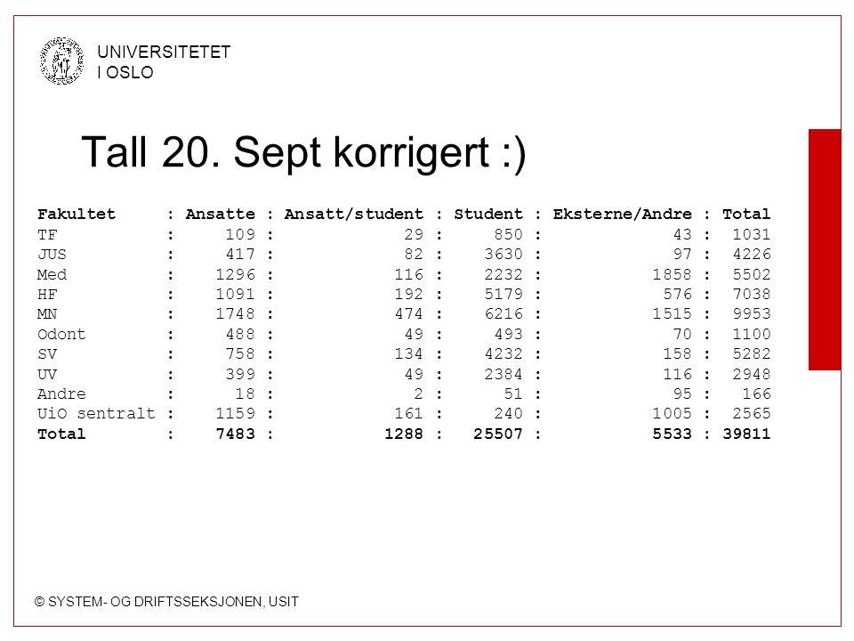 © SYSTEM- OG DRIFTSSEKSJONEN, USIT UNIVERSITETET I OSLO Tall 20.