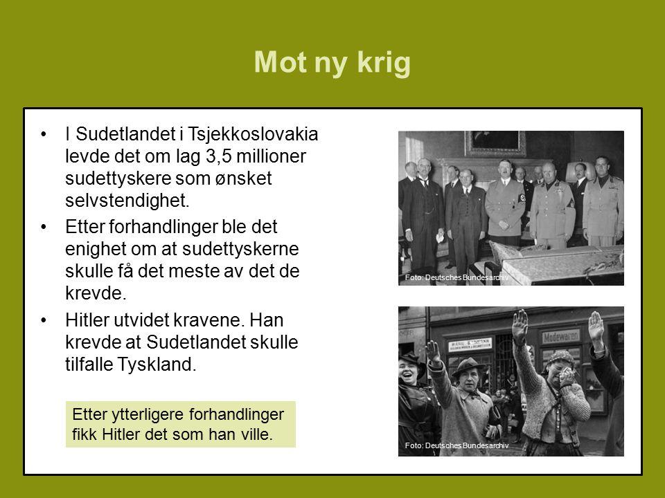 Mot ny krig I Sudetlandet i Tsjekkoslovakia levde det om lag 3,5 millioner sudettyskere som ønsket selvstendighet.
