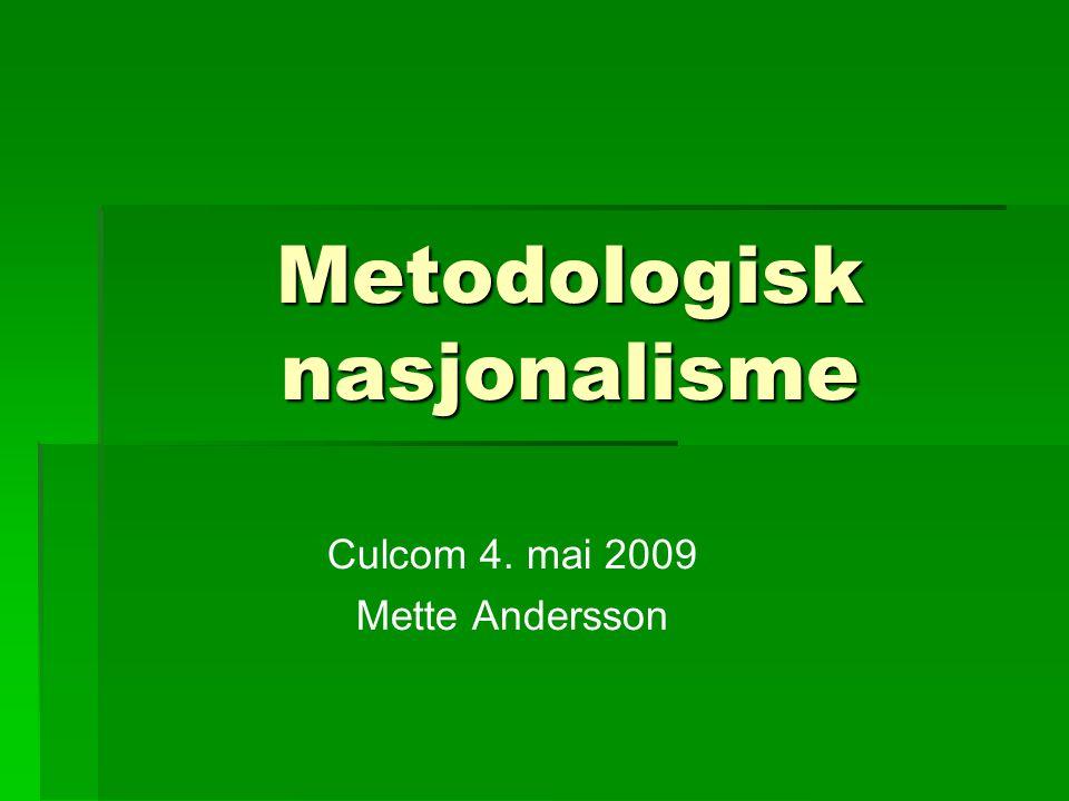 Metodologisk nasjonalisme Culcom 4. mai 2009 Mette Andersson
