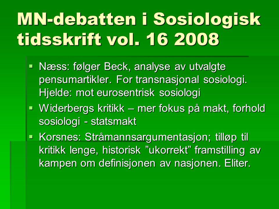 MN-debatten i Sosiologisk tidsskrift vol.