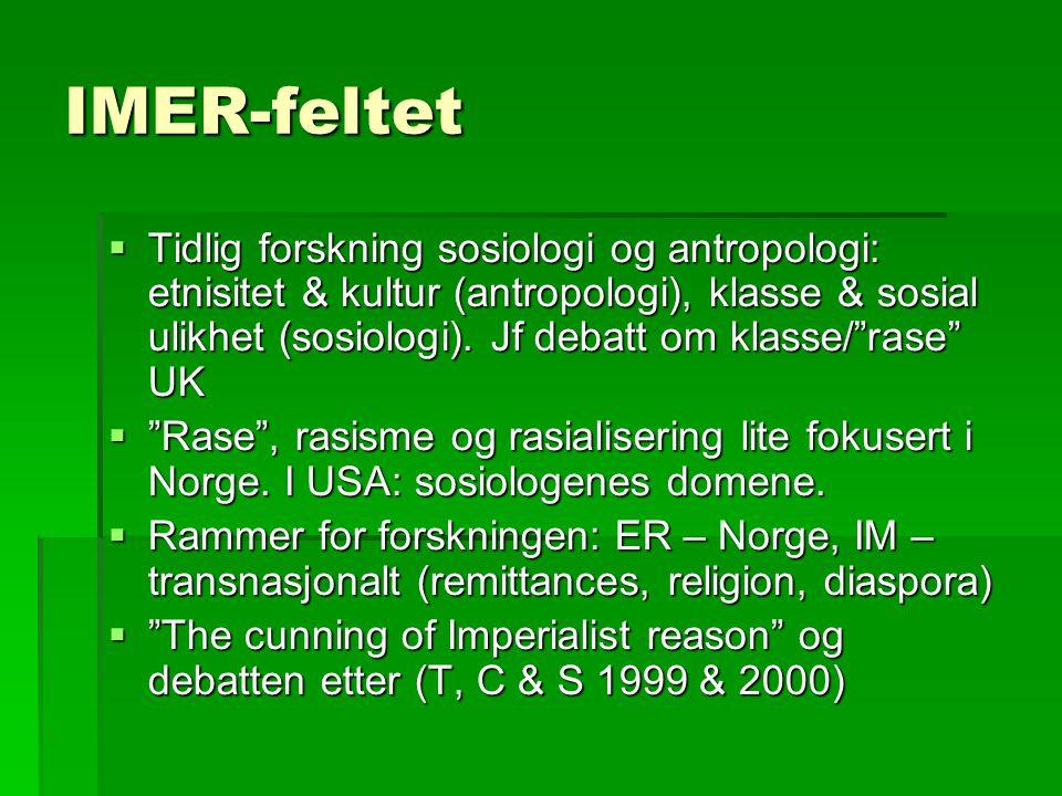 IMER-feltet  Tidlig forskning sosiologi og antropologi: etnisitet & kultur (antropologi), klasse & sosial ulikhet (sosiologi).