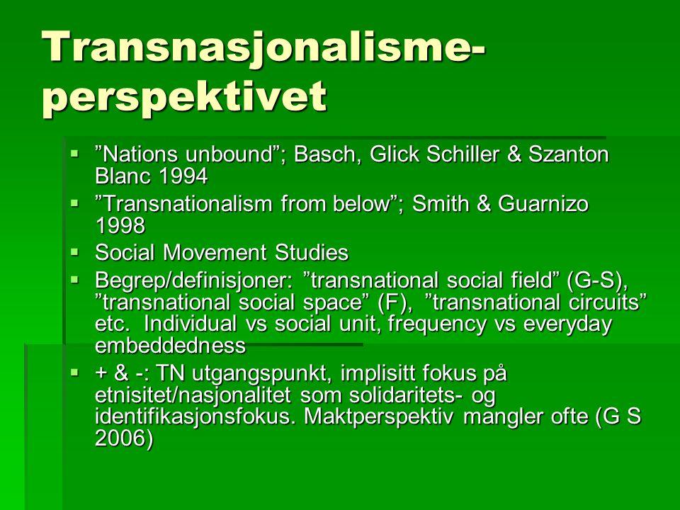 Transnasjonalisme- perspektivet  Nations unbound ; Basch, Glick Schiller & Szanton Blanc 1994  Transnationalism from below ; Smith & Guarnizo 1998  Social Movement Studies  Begrep/definisjoner: transnational social field (G-S), transnational social space (F), transnational circuits etc.