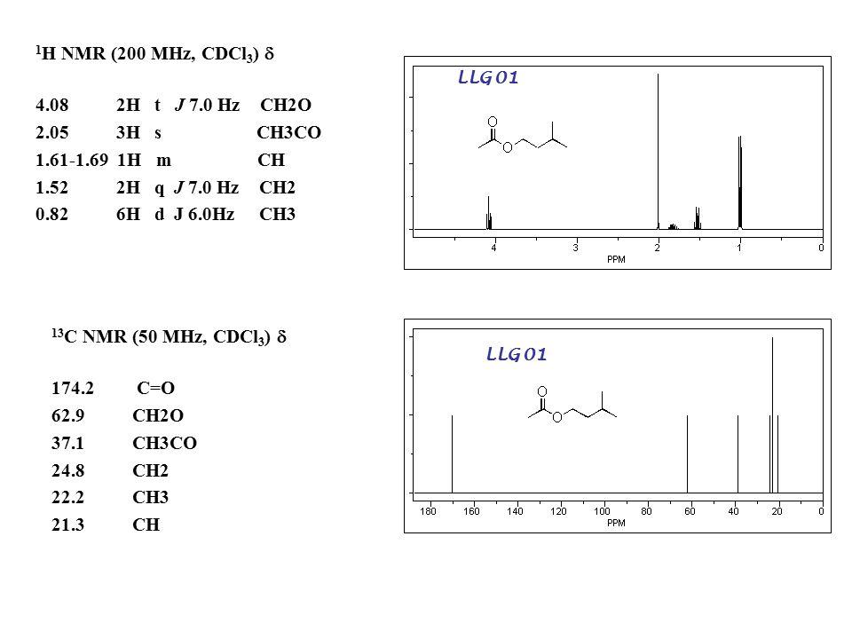 LLG 01 1 H NMR (200 MHz, CDCl 3 )  4.08 2H t J 7.0 Hz CH2O 2.05 3H s CH3CO 1.61-1.69 1H m CH 1.52 2H q J 7.0 Hz CH2 0.82 6H d J 6.0Hz CH3 LLG 01 13 C NMR (50 MHz, CDCl 3 )  174.2C=O 62.9 CH2O 37.1 CH3CO 24.8 CH2 22.2 CH3 21.3 CH