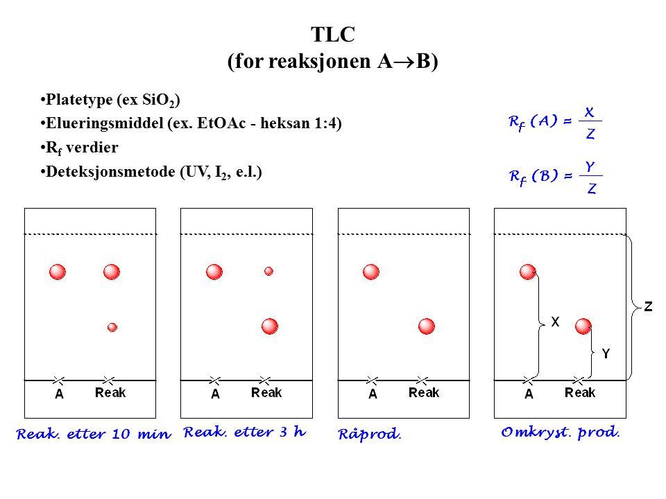 TLC (for reaksjonen A  B) Platetype (ex SiO 2 ) Elueringsmiddel (ex.