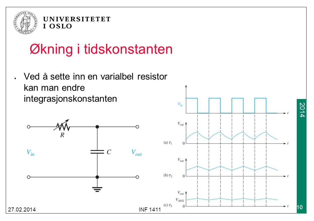 2009 2014 RC-differensiatorens pulsrespons I en RC-differensiator brukes spenningen over resistoren som utgangsspenning; forløpet blir mer komplisert 27.02.2014INF 1411 11