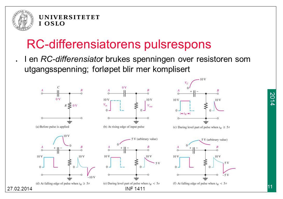 2009 2014 RC-differensiator respons på repeterende pulser Samme forløpet skjer som for integratorer: Det tar en viss tid før steady-state oppnås; avhengig av tidskonstanten Hvis t W >= 5 τ vil kondensatoren rekke å lades helt opp/ut for hver hele periode 27.02.2014INF 1411 12