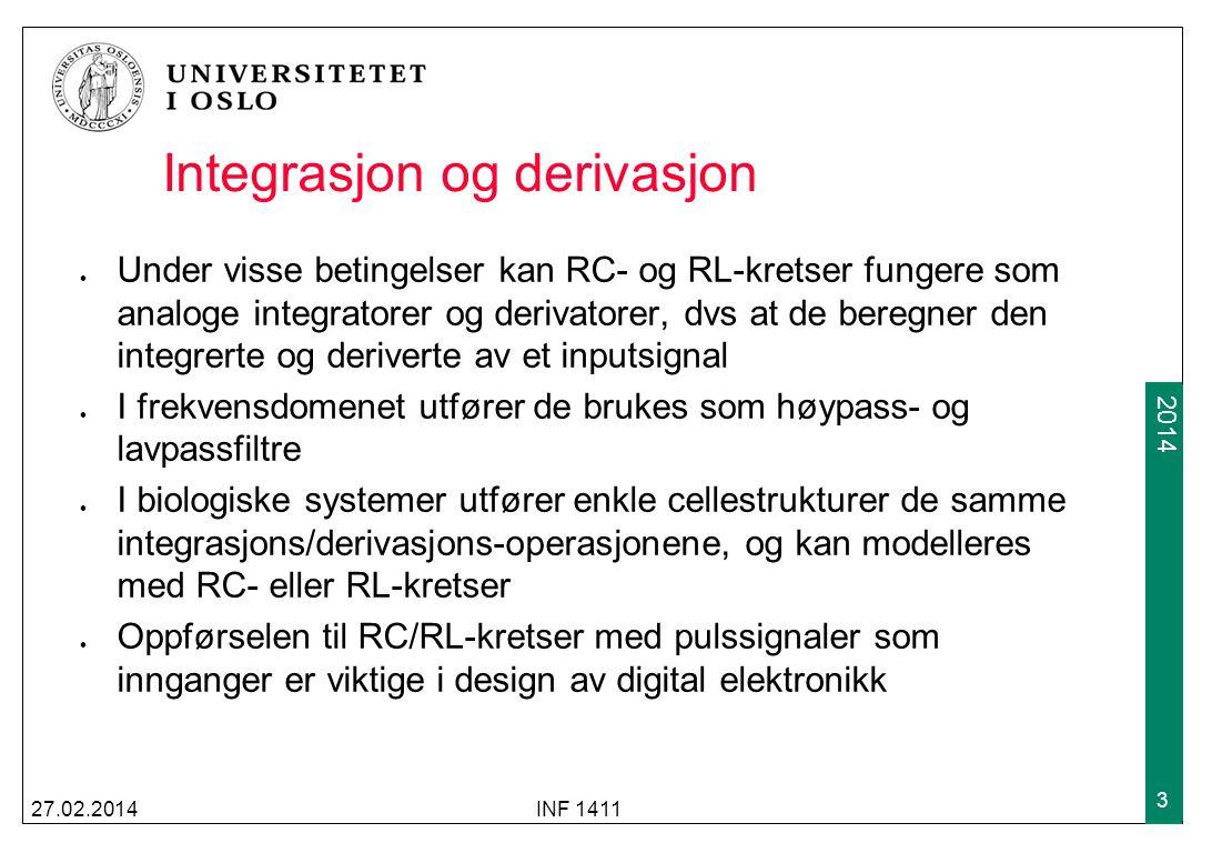 2009 2014 Integrasjon og derivasjon Under visse betingelser kan RC- og RL-kretser fungere som analoge integratorer og derivatorer, dvs at de beregner